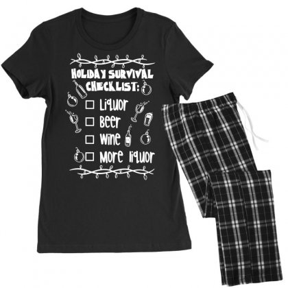 Holiday Survival Checklist Women's Pajamas Set Designed By Teeshop