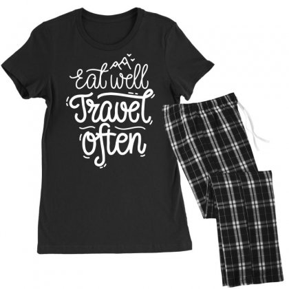 Eat Well Travel Often Women's Pajamas Set Designed By Dinugraha