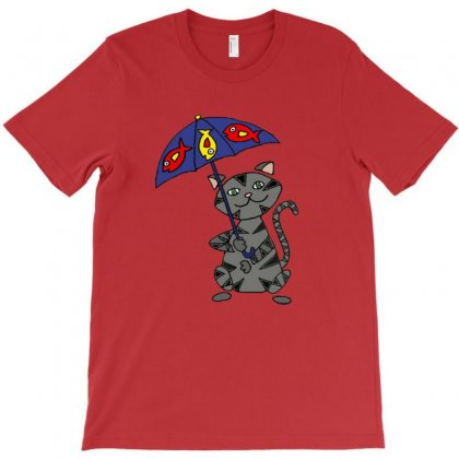 Funny Funky Gray Tabby Cat Holding Umbella T-shirt Designed By Wd650
