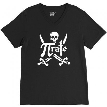 Pi Rate Skull V-neck Tee Designed By Dinugraha