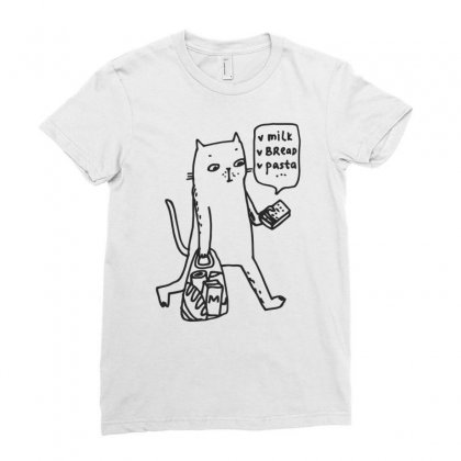 Shopping Cat Funny Ladies Fitted T-shirt Designed By Dinugraha
