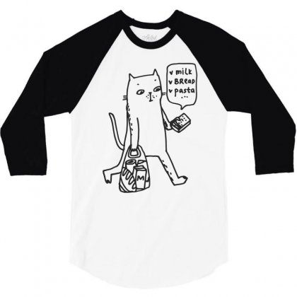 Shopping Cat Funny 3/4 Sleeve Shirt Designed By Dinugraha