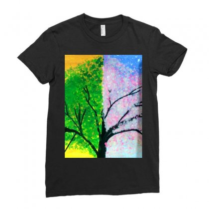 Tree Time Span Ladies Fitted T-shirt Designed By Arzoo