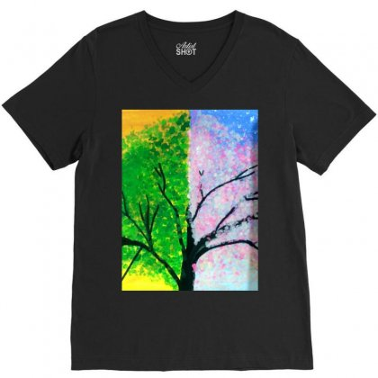 Tree Time Span V-neck Tee Designed By Arzoo