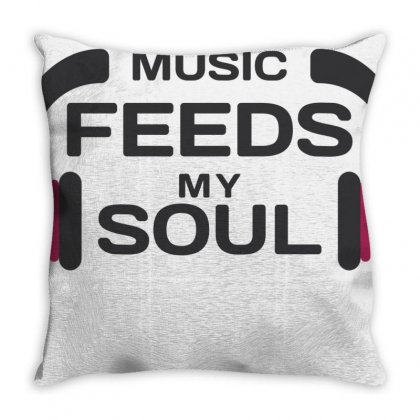 Music Feeds My Soul Throw Pillow Designed By Designisfun