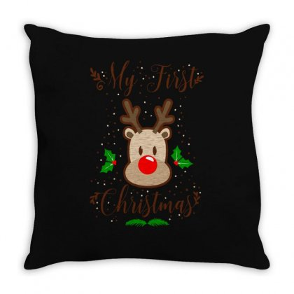 My First Chrismas Throw Pillow Designed By S4bilal