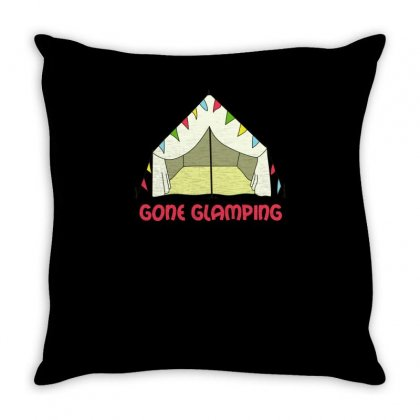 Funny Gone Glamping Throw Pillow Designed By Milamaftah