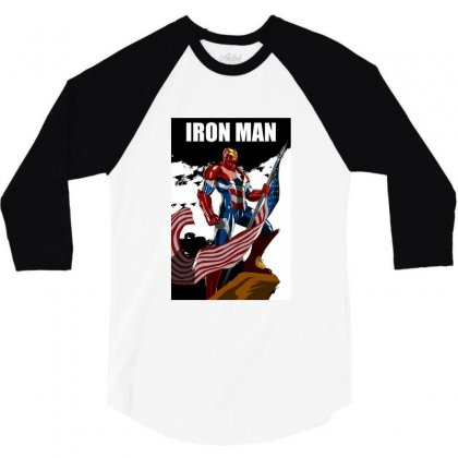 Iron Man Design T-shirts 3/4 Sleeve Shirt Designed By Dxamit123