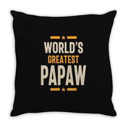 Mens World's Greatest Papaw Father Grandpa Gift Throw Pillow Designed By Cidolopez