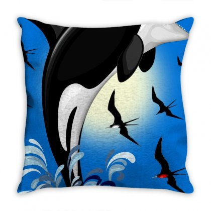Orca Killer Whale Jumping Throw Pillow Designed By Thechameleonart