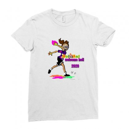 Happy Holi Ladies Fitted T-shirt Designed By Btqe International