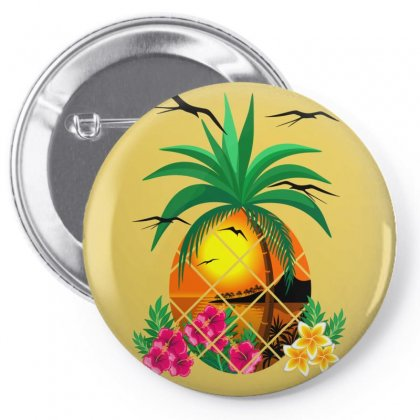 Pineapple Tropical Sunset, Palm Tree And Flowers Pin-back Button Designed By Thechameleonart