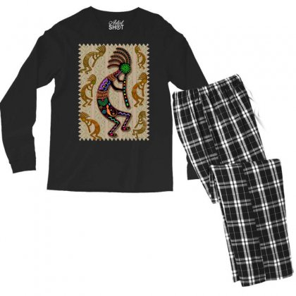 Kokopelli Rainbow Colors On Tribal Pattern Men's Long Sleeve Pajama Set Designed By Thechameleonart