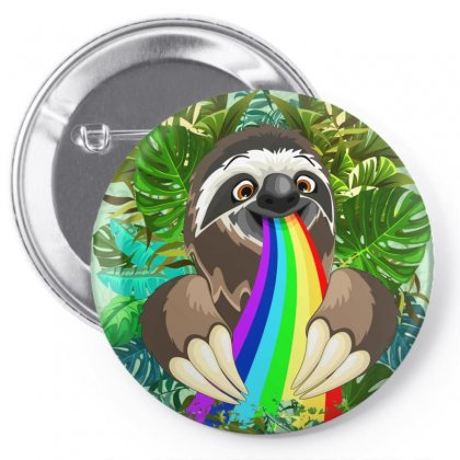Sloth Spitting Rainbow Colors Pin-back Button Designed By Thechameleonart
