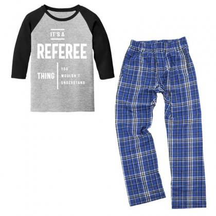 04 Title: It's A Referee Thing Job Title Gift Youth 3/4 Sleeve Pajama Set Designed By Cidolopez