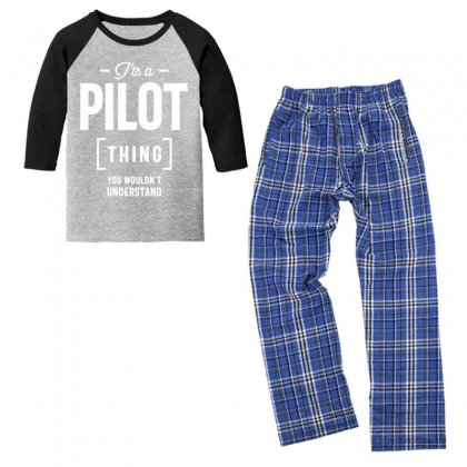 It's A Pilot Thing Job Title Gift Youth 3/4 Sleeve Pajama Set Designed By Cidolopez