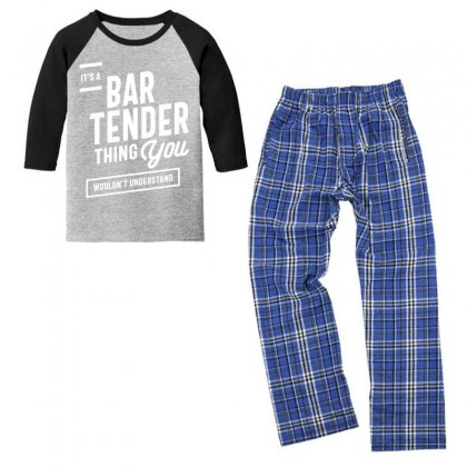 It's A Bartender Thing Job Title Gift Youth 3/4 Sleeve Pajama Set Designed By Cidolopez