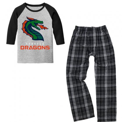 Cool Dragons Youth 3/4 Sleeve Pajama Set Designed By Just4you