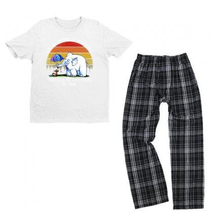 Funny Elephant In A World Where You Can Be Anything Be Kind Youth T-shirt Pajama Set Designed By Just4you