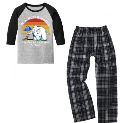 Funny Elephant In A World Where You Can Be Anything Be Kind Youth 3/4 Sleeve Pajama Set Designed By Just4you