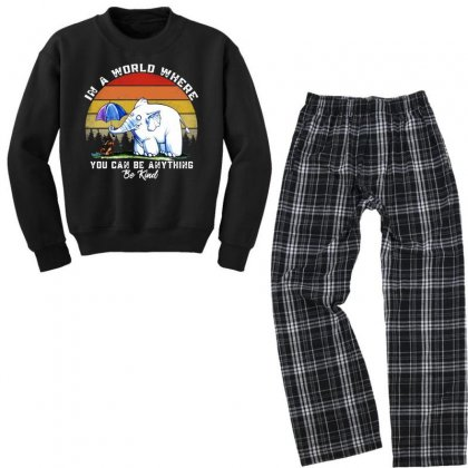 Funny Elephant In A World Where You Can Be Anything Be Kind Youth Sweatshirt Pajama Set Designed By Just4you