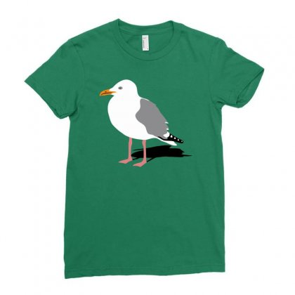 Standing Seagull Funny Ladies Fitted T-shirt Designed By Milamaftah