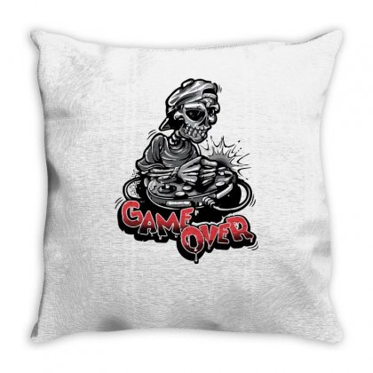 Game Over Skeleton Throw Pillow Designed By S4bilal