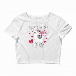 all you need is love and llamas for light Crop Top | Artistshot