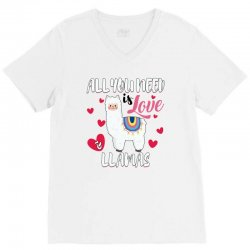all you need is love and llamas for light V-Neck Tee | Artistshot