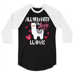 all you need is love and llamas for dark 3/4 Sleeve Shirt | Artistshot