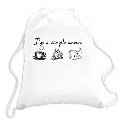 I'm A Simple Woman Who Loves Coffee, Pizza, Pig Drawstring Bags Designed By Hoainv