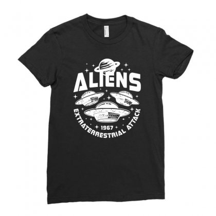 Alien Extraterrestrial Ladies Fitted T-shirt Designed By S4bilal