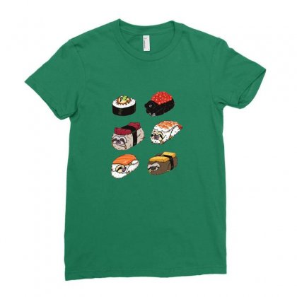 Sushi Hug Ladies Fitted T-shirt Designed By Coolmarcell