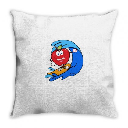Apple Surfing On Waves Throw Pillow Designed By Hoainv