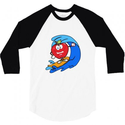Apple Surfing On Waves 3/4 Sleeve Shirt Designed By Hoainv