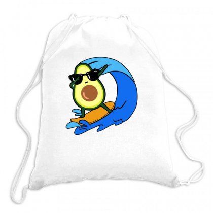 Avocado Surfing On Waves Drawstring Bags Designed By Hoainv