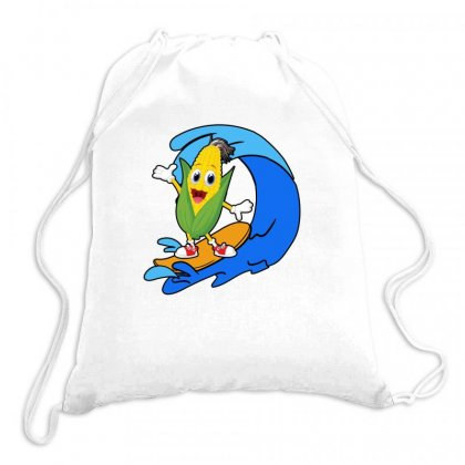 Corn Surfing On Waves Drawstring Bags Designed By Hoainv