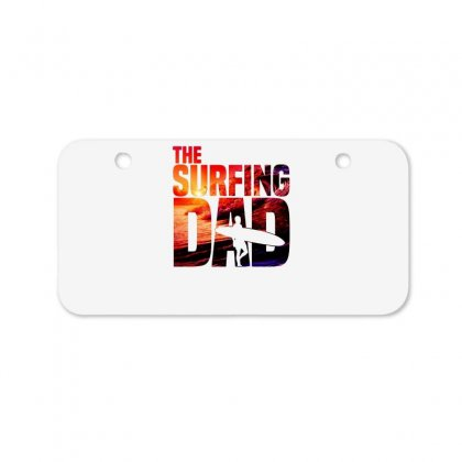 Mens Surfing Dad   Surfer Beach Fathers Day Bicycle License Plate Designed By Hoainv