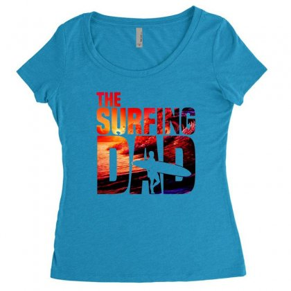 Mens Surfing Dad   Surfer Beach Fathers Day Women's Triblend Scoop T-shirt Designed By Hoainv