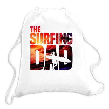 Mens Surfing Dad   Surfer Beach Fathers Day Drawstring Bags Designed By Hoainv