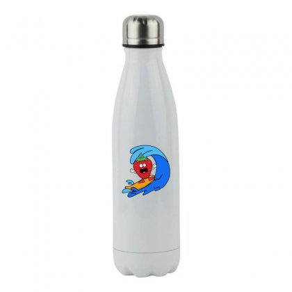 Strawberry Surfing On Waves Stainless Steel Water Bottle Designed By Hoainv