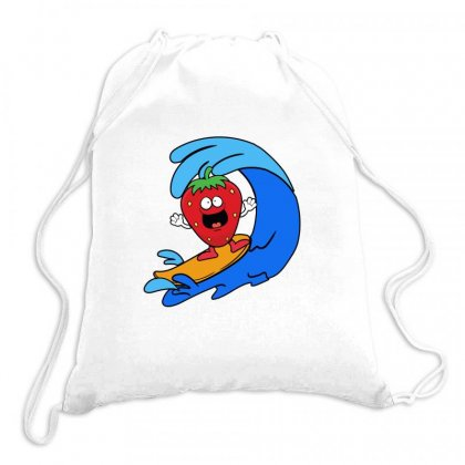 Strawberry Surfing On Waves Drawstring Bags Designed By Hoainv