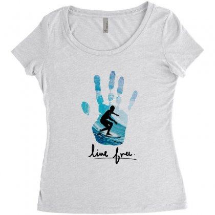 Surfing Line Free Women's Triblend Scoop T-shirt Designed By Hoainv