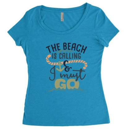 The Beach Is Calling And I Must Go Women's Triblend Scoop T-shirt Designed By Hoainv