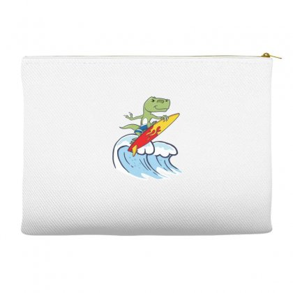 Dinosaur Surfing On Waves Accessory Pouches Designed By Hoainv