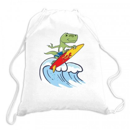 Dinosaur Surfing On Waves Drawstring Bags Designed By Hoainv