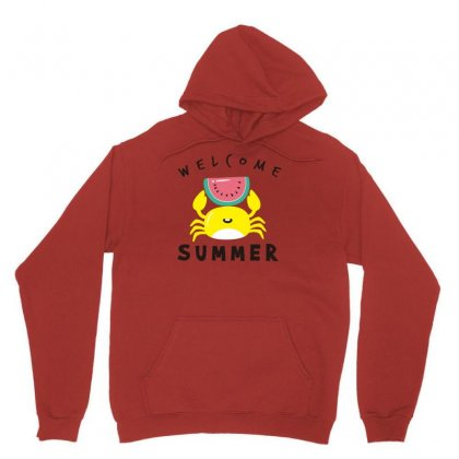Welcome Summer Crab Unisex Hoodie Designed By S4bilal