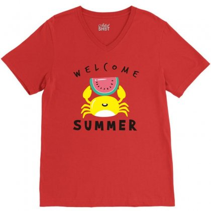 Welcome Summer Crab V-neck Tee Designed By S4bilal