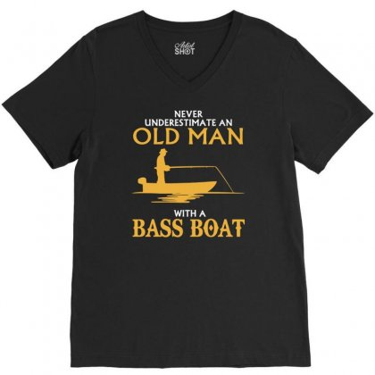Funny Never Underestimate Old Man With A Bass Boat V-neck Tee Designed By Milamaftah