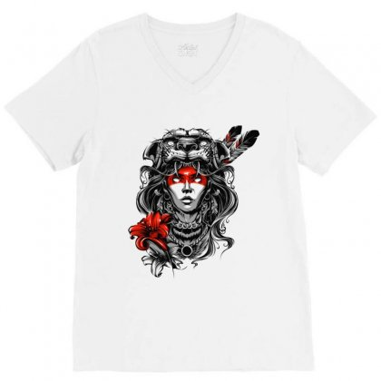 Jaguar Woman V-neck Tee Designed By Tiococacola